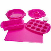 Classic Cuisine 18 Piece Silicone Bakeware Set, Fuchsia