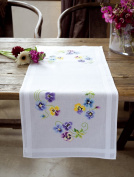 Vervaco Pretty Pansies Table Runner Stamped Cross-Stitch Kit
