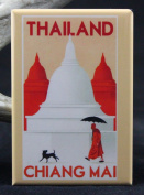 Thailand Vintage Travel Poster Refrigerator Magnet. Chiang Mai
