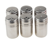 YYGIFT® Set of 6 Stainless Steel Spice Bottles Salt Sugar Spice Pepper Shaker Seasoning Cans with Rotating Cover for Kitchen Cooking and Outdoor Barbecue