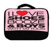 I Love Shoes Booze and Boys with Tatoos Canvas Lunch Bag by Debbie's Designs