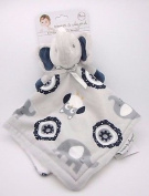 Blankets and Beyond Light Grey & Blue Elephant Baby Security Blanket Plush