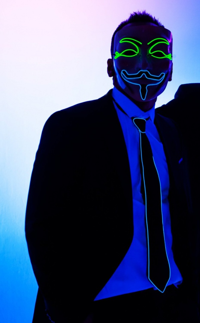 LED Rave Mask, Guy Fawkes Mask, V for Vendetta El Wire Mask, 2 Colours,  Anonymous