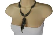 TFJ Women Fashion Long Necklace Metal Angel Wings Pendant Charm Jewellery Antique Gold + Earrings