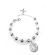 Catholic - Stainless Steel Saint Benedict Pearls and Beads Bracelet - San Benedicto