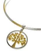 Gold and Silver Stainless Steel Round Tree of Life Rigid Necklace Pendant
