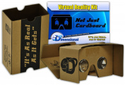 Complete Google Cardboard Kit Version 2.0 Virtual Reality Headset V2 with Head-strap, Video Instructions and VR Portal With Touch Button for iPhone and Android (Original Colour) by Not Just Cardboard