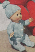 Vintage Knitting PATTERN to make - 28cm Baby Doll Clothes Set Sweater Hat. NOT a finished item. This is a pattern and/or instructions to make the item only.