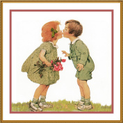 Boy and Girl Exchanging A Kiss By Jessie Willcox Smith Counted Cross Stitch Chart