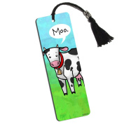 Udderly Cute Cow Printed Bookmark with Tassel