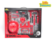 Little Treasures 18 piece pretend and play tool play set with working friction drill toy for you little handyman fixer man