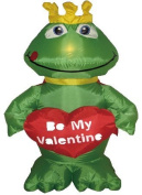 1.2m Valentine's Day Inflatable Frog King with Sweet Heart Yard Decoration