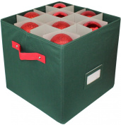 Zober Premium 600D Polyester Christmas Ornament Storage Box with Lid - Adjustable Ornament Storage Container with Dividers - Holds up To 64 Round Ornaments - 12 x 12 x 12 - Green