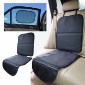 Child Car Seat Protector Mat - Covers Under Child Seat - Auto Leather Saver For Baby Seat. Includes *FREE* Baby Car Sunshade