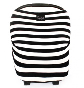 """Stretchy Multi-use Baby Car Seat Canopy, Nursing Cover, Shopping Cart Cover """"The Classic"""" 3-in-1 Unisex Black and White"""
