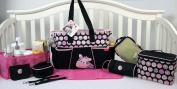 SoHo Pink Zebra nappy bag 9 pieces Set