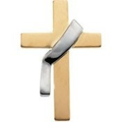 14K Yellow Gold 22.00X14.00 Mm Two Tone Deacon Cross Lapel Pin