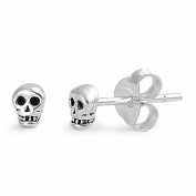 Tiny Skull Stud Earrings Sterling Silver - 4mm