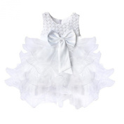 Arrowhunt Baby Girls Christening Wedding Party Flower Dress with Bowknot