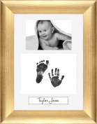Baby Inkless Hand and Footprint Kit Antique Gold Frame / White 3 Hole Portrait Mount / Black Prints