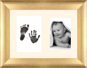 Baby Inkless Hand and Footprint Kit Antique Gold Frame / Cream 2 Hole Mount / Black Prints