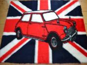 Union Jack Mini Car Non Slip Machine Washable Sheepskin Style Kids Rug. Size 75cm x 100cm