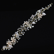 Remedios Crystal & Rhinestone Flower Leaves Bridal Wedding Hair Vine Headband, Gold & Silver