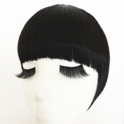 Beauty-Emily Womens Korean Sily Hair Bang Both Side Hair Piece Wig Scrunchie Fringe,Colour Black