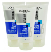 3x L'Oreal Studio Line Fix and Style Multi-Vitamin Gel Very Strong Hold 150ml
