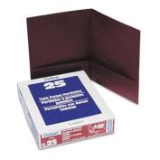 Oxford 53441 Linen Twin Pocket Portfolios, Burgundy, 25 Per Box