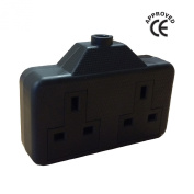 Black High Impact Extension Double Socket / Heavy Duty Electrical Twin 2 Gang