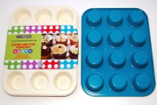 casaWare Ceramic Coated NonStick 12 Cup Muffin Pan (Cream/Blue) by casaWare