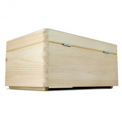 VENKON - All-Purpose Wooden Box with Lid for Storage - Pinewood natural untreated - 30 x 20 x 14 cm