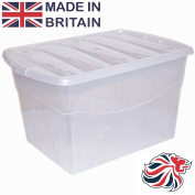 CrazyGadget® 100L 100 Litre Extra Large Big Plastic Storage Clear Box Strong Stackable Container - Made In U.K.