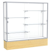 Waddell Reliant White Back Display Case, 72W by 72H by 41cm D, Satin Finish with Light Oak Vinyl Base