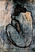 Pablo Picasso Blue Nude 1902 Blue Period Painting Art Print Poster - 12x18
