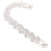 Indian Payal Ad Cz Jade Handmade Silver Plated Natural Anklet Set 6686 [Jewellery]