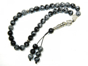 A1-0053 - Prayer Beads Worry Beads Tasbih Buddha / Snowflake Obsidian Gemstone Handmade by Jeannieparnell