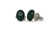 Malachite stud earrings, natural, flat oval, 7x5mm, 925 silver