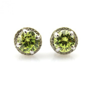 Jade Angel 925 Sterling Silver Round Cut Created Amethyst Cubic Zircon Stud Earrings