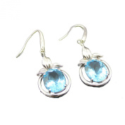 Jade Angel Solid 925 Silver with 9x11mm Blue Topaz Cubic Zircon Earrings Colour Blue