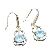 Jade Angel 925 Silver Earrings with 8mm Round Cut Blue Topaz Cubic Zircon