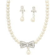Clearbridal Women's Nice Necklace with Ear Clip type Earing for Wedding Bridal and Special Occasion Jewellery Set 15100