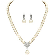 Clearbridal Women's Nice Necklace with Ear Clip type Earing for Wedding Bridal and Special Occasion Jewellery Set 15098