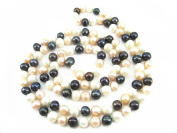"Multicolour White Pink Black Freshwater Natural Cultured Pearl 120cm 47"" Long Double Knotted Necklace Present"