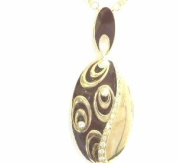 Silver 925 Necklace Gold Plated Enamelled Brown With Cubic Zirconia. Chain Double