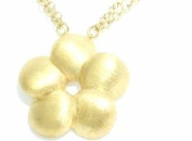 Silver 925 Necklace Gold Plated Flower Satin Finish. Chain Double