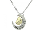 "Glitz Fashion Cresent Moon Pendant Necklace ""I Love You to The Moon and Back"" Daughter"