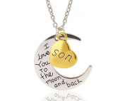 "Glitz Fashion Cresent Moon Pendant Necklace ""I Love You to The Moon and Back"" Son"