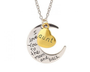 "Glitz Fashion Cresent Moon Pendant Necklace ""I Love You to The Moon and Back"" Aunt"